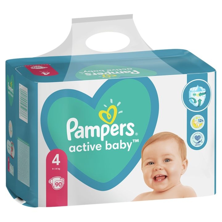 Pampers Active Baby Giant Pack 4 Maxi Пелени за деца от 9 до 14 килограма x90 броя