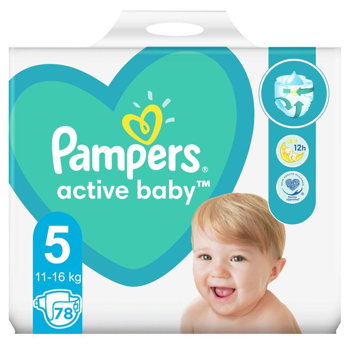 Pampers Active Baby Giant Pack 5 Junior Пелени за деца от 11 до 16 килограма x78 броя