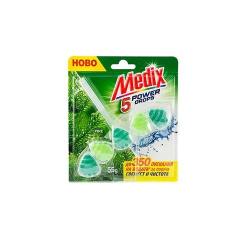Medix WC Fresh Drops Pine Твърдо тоалетно блокче с аромат на бор x55 грама