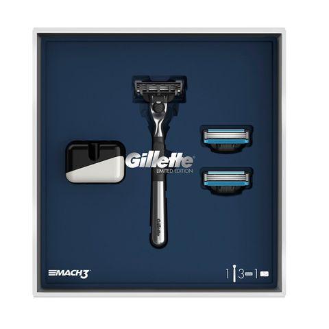 Gillette Mach 3 Limited Edition Промо комплект Самобръсначка, Ножчета и подарък Поставка