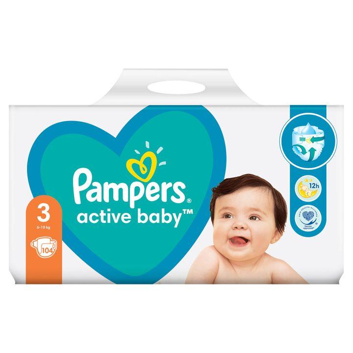 Pampers Active Baby Giant Pack 3 Midi Пелени за деца от 6 до 10 килограма x104 броя