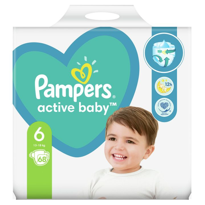 Pampers Active Baby Giant Pack 6 Maxi Junior Пелени за деца от 13 до 18 килограма x68 броя