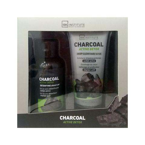 IDC Institute Charcoal Промо комплект за жени с козметика за тяло с активен въглен