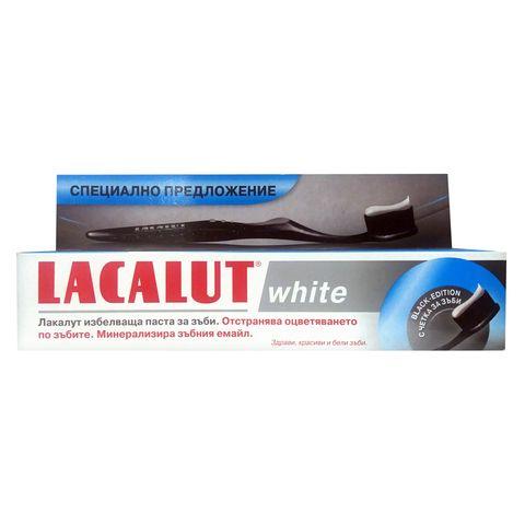 Lacalut White Black Edition Промо комплект Избелваща паста за зъби и Четка
