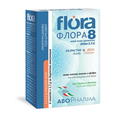 Flora 8 Синбиотици за деца и възрастни х6 сашета Abopharma