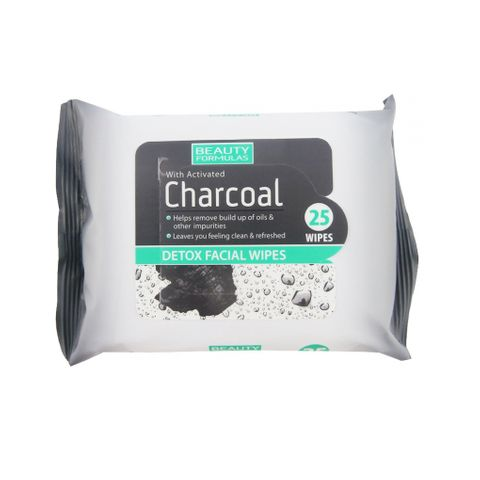 Beauty Formulas Charcoal Детоксикиращи мокри кърпи за лице с активен въглен х25 броя