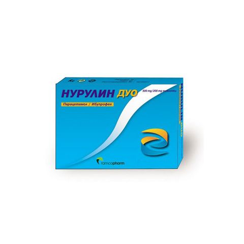 Нурулин дуо при болка и висока температура х10 таблетки