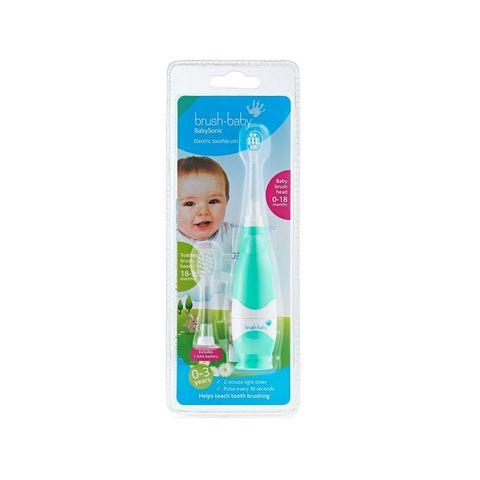 Brush-baby Sonic Електрическа четка за зъби за деца от 0 до 18 месеца + накрайник за деца от 18 до 36 месеца