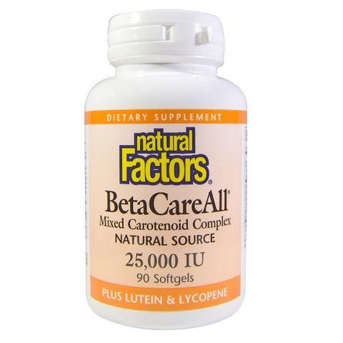 Natural Factors BetaCareAll Бета каротин с лутеин и ликопен за добро зрение 25 000 IU х90 капсули