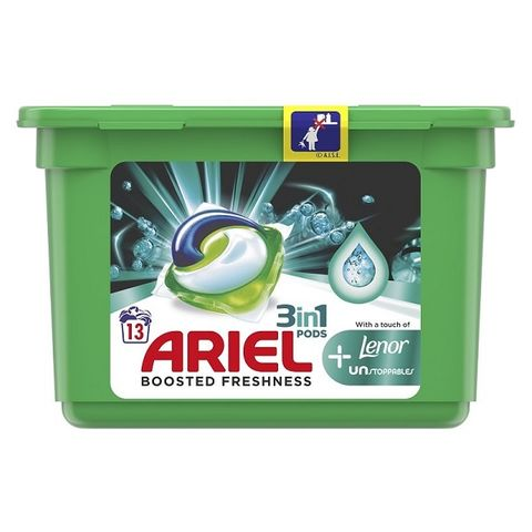 Ariel 3in1 Pods + Lenor Unstoppables Гел капсули за пране 13 броя x27,1 грама