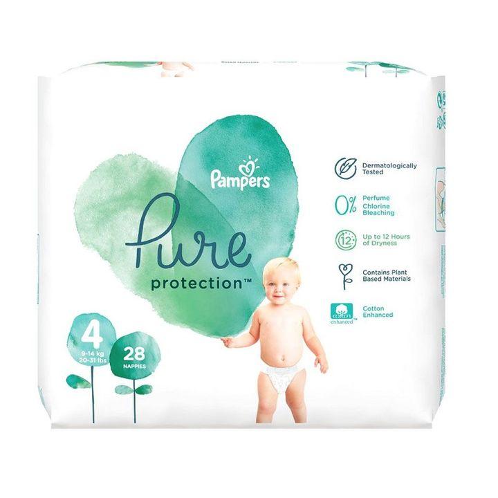 Pampers Pure Ptotection 4 Maxi Пелени за деца от 9 до 14 килограма x28 броя
