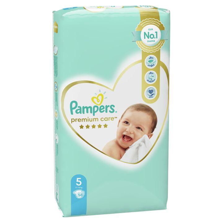 Pampers Premium Care 5 Junior Пелени за деца от 11 до 16 килограма x 58 броя