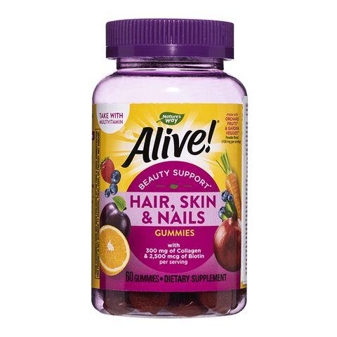 Alive За красиви коса, кожа и нокти, с вкус на ягода х60 желирани таблетки Nature's Way