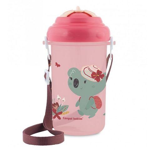Canpol babies Спортна чаша със сламка и презрамка за деца над 12 месеца розова x400 мл 4/107