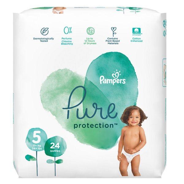 Pampers Pure Ptotection 5 Junior Пелени за деца над 11 килограма x24 броя