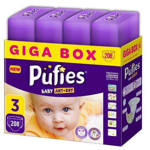 Pufies Art & Dry 3 Midi Giga Box Пелени за бебета от 4 до 9 килограма x208 броя