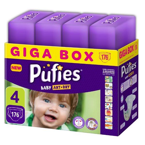 Pufies Art & Dry Maxi 4 Giga Box Пелени за бебета от 7 до 14 килограма x176 броя