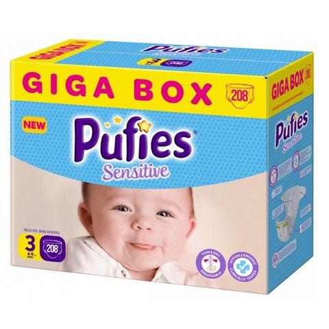 Pufies Sensitiv Giga Box 3 Midi Пелени за деца от 4 до 9 килограма  x208 броя
