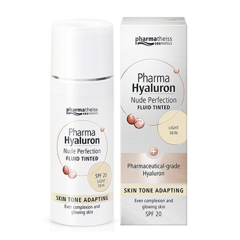 Pharma Hyaluron Тониращ анти-ейдж флуид за лице с матиращ ефект SPF20, цвят Light х50 мл