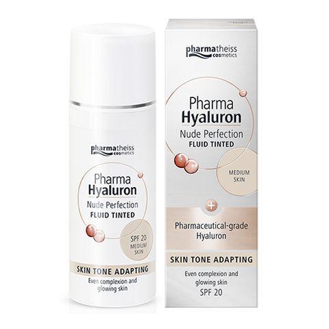Pharma Hyaluron Тониращ анти-ейдж флуид за лице с матиращ ефект SPF20, цвят Medium х50 мл