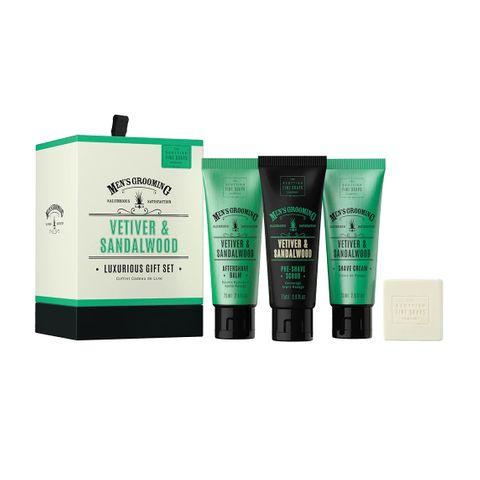 Scottish Fine Soaps Vetiver & Sandalwood Промо комплект за мъже Крем за бръснене, Скраб, Афтършейв и Сапун