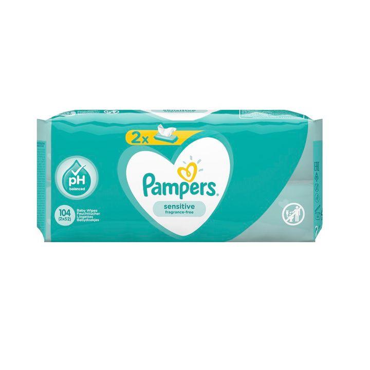 Pampers Sensitive Промо комплект Бебешки мокри кърпи за чувствителна кожа 2х52 броя