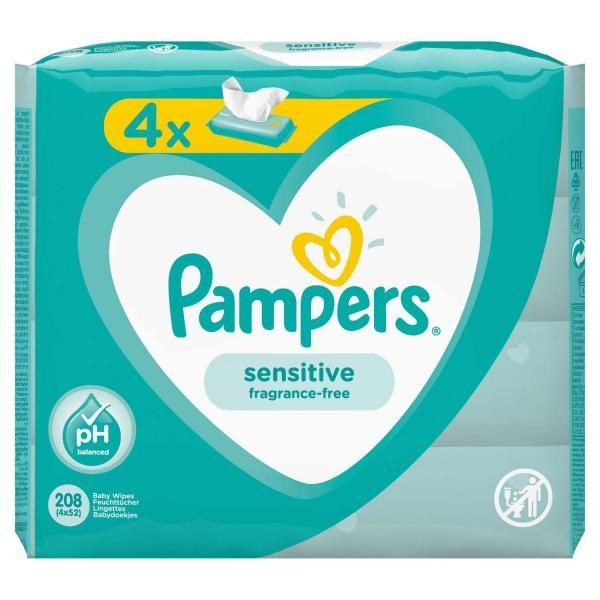 Pampers Sensitive Промо комплект Бебешки мокри кърпи за чувствителна кожа 4х52 броя