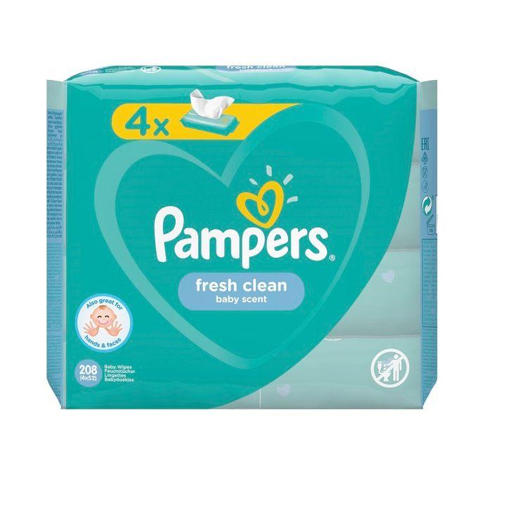 Pampers Fresh Clean Промо комплект Освежаващи мокри кърпички за бебета 4х52 броя