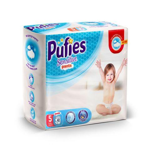 Pufies Sensitive Pants 5 Junior Бебешки пелени тип гащички за деца от 12 до 18 килограма x42 броя