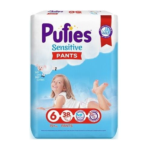 Pufies Sensitive Pants 6 Extra Large Бебешки пелени тип гащички за деца над 15 килограма x38 броя
