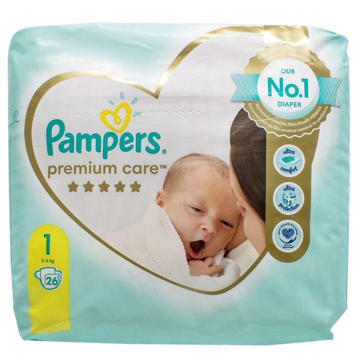 Pampers Premium Care 1 Newborn Пелени за деца от 2 до 5 килограма x26 броя