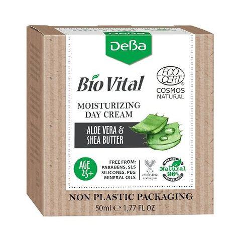 Deva BioVital Натурален овлажняващ дневен крем за лице с екстракт от алое вера и масло от ший 25+ х50 мл