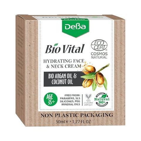 Deva BioVital Натурален хидратиращ крем за лице и шия с био масла от арган и кокос 35+ х50 мл
