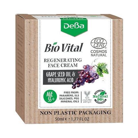 Deva BioVital Натурален регенериращ крем за лице за зряла кожа с масло от гроздови семки 55+ х50 мл