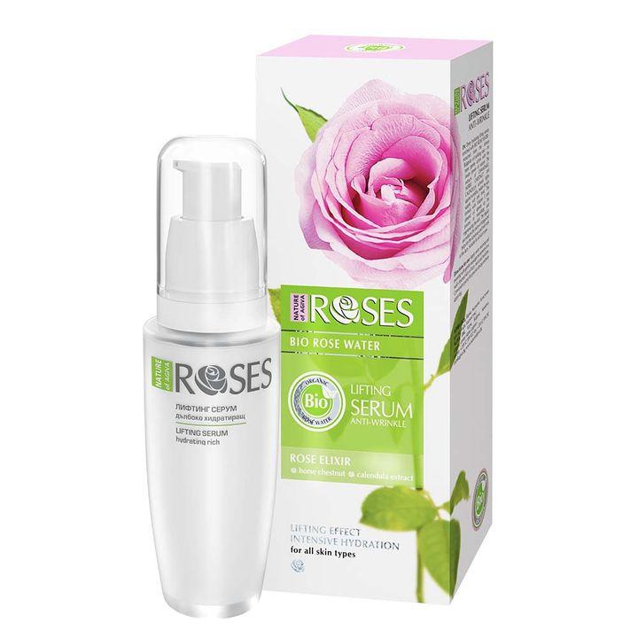 Nature of Agiva Roses Bio Лифтинг серум за лице против бръчки с био розова вода х30 мл