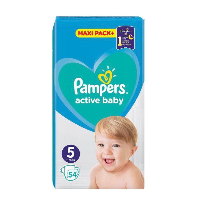 Pampers Active Baby 5 Maxi Pack+ Пелени за деца от 11 до 16 килограма x54 броя