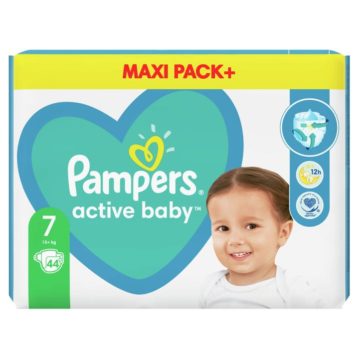 Pampers Active Baby 7 Maxi Pack+ Пелени за деца над 15 килограма x44 броя