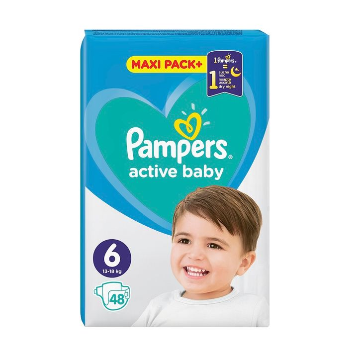 Pampers Active Baby 6 Maxi Pack+ Пелени за деца от 13 до 18 килограма x48 броя