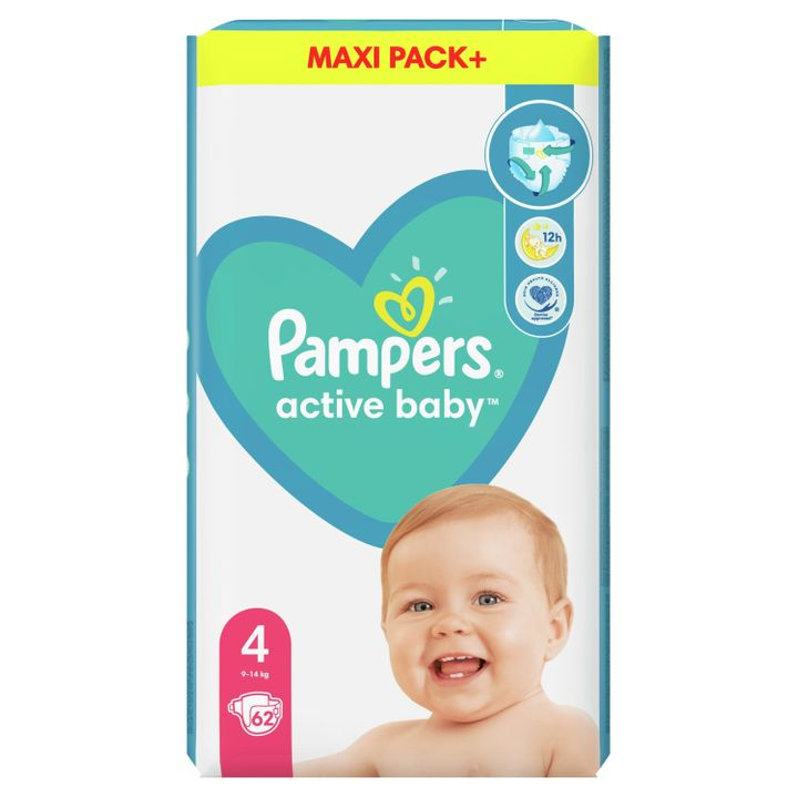 Pampers Active Baby 4 Maxi Pack+ Пелени за деца от 9 до 14 килограма x62 броя