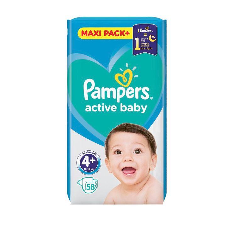 Pampers Active Baby 4+ Maxi Pack+ Пелени за деца от 10 до 15 килограма x58 броя