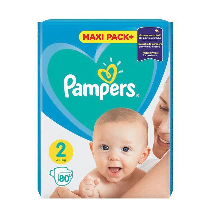 Pampers Active Baby 2 Maxi Pack+ Пелени за деца от 4 до 8 килограма x80 броя