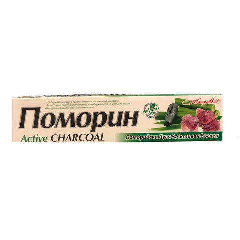 Pomorin Active Charcoal Антибактериална паста за зъби с поморийска луга и активен въглен х100 мл