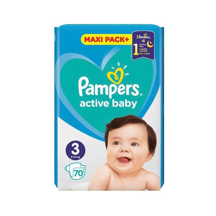 Pampers Active Baby 3 Maxi Pack + Пелени за деца от 6 до 10 килограма x70 броя