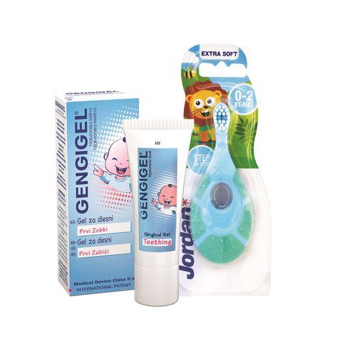 Gengigel Teething Първи зъбки гел за бебета х20 мл с подарък Четка за зъби за деца от 0 до 2 години