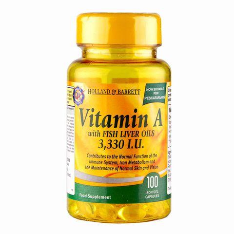 Holland and Barrett Витамин А с рибено масло 3300 IU х100 капсули