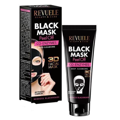Revuele Co-Enzymes 3D Черна пилинг маска за лице с активен въглен и коензим x80 мл