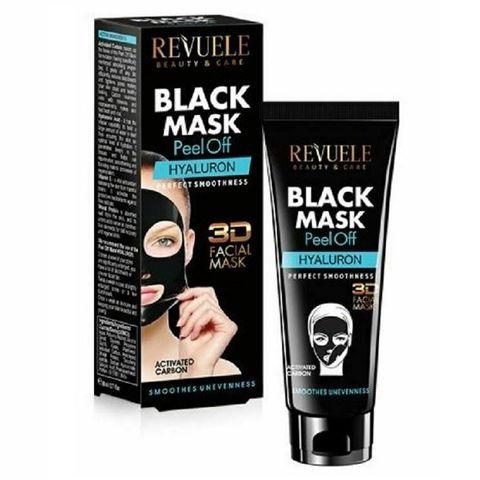 Revuele Hyaluron 3D Черна пилинг маска за лице с активен въглен и хиалурон x80 мл