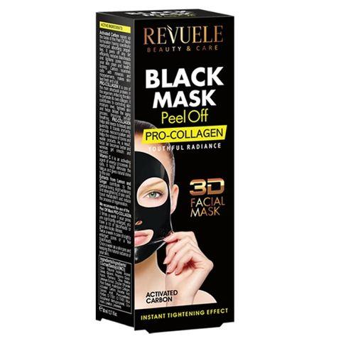 Revuele Pro Collagen 3D Черна пилинг маска за лице с активен въглен и колаген x80 мл