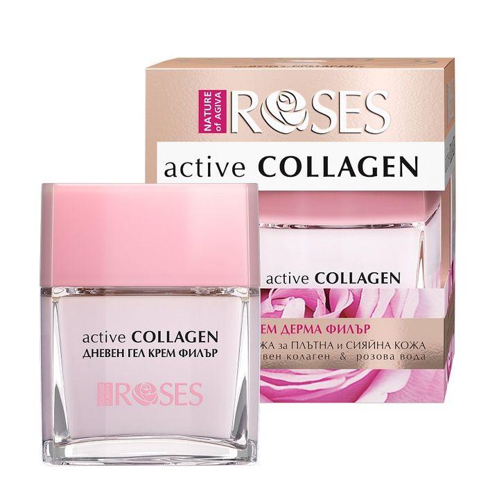 Nature of Agiva Roses Active Collagen Дневен гел крем дерма филър против бръчки x50 мл