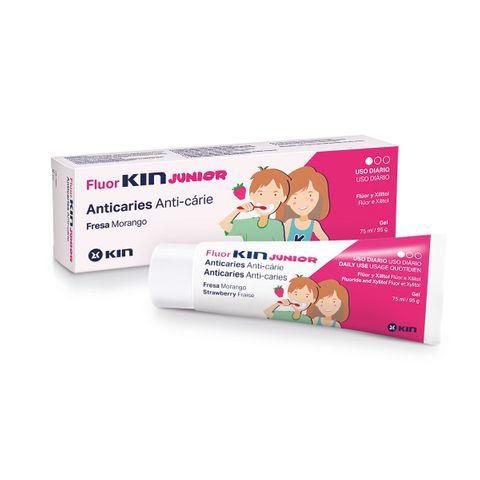 Kin Fluorkin Junior Гел паста за зъби за деца над 6 години с вкус на ягода x75 мл